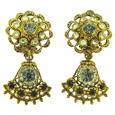 Marked W Germany dangling clip-on Earrings with rhinestones