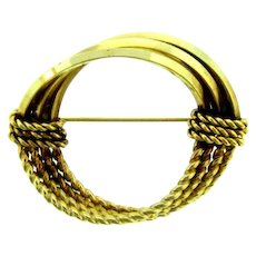 Signed V.D. 12K gold filled circular triple ring Brooch