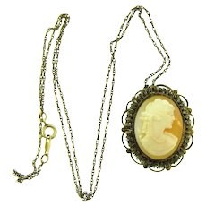 Vintage shell Cameo pendant Necklace