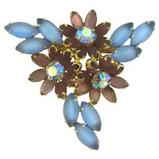 Vintage 1960's rhinestone Brooch with mauve, AB and blue stones