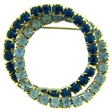 Vintage double circle rhinestone Brooch with blue rhinestones
