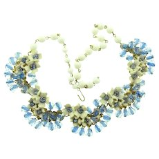 Vintage mid Century unusual link Necklace with flowers, rhinestones and givre crystal beads