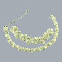 Signed Lisner gold tone link matching choker Necklace and Bracelet