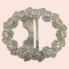 Marked sterling silver large repousse Belt Buckle