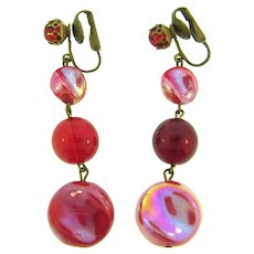 Signed Western Germany dangling red glass bead clip-on Earrings