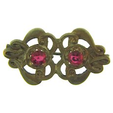 Vintage Art Nouveau small gold tone Scatter Pin with pink rhinestones