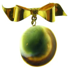 Marked 1/20 12K gold filled bow Brooch with operculum shell dangle