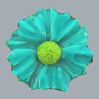 Vintage 1960's enamel on metal flower Brooch in shades of blue and green