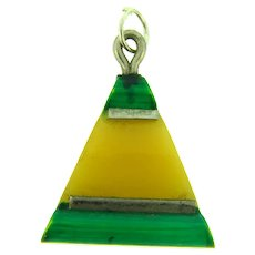 Vintage early plastic Art Deco triangular Pendant in green and yellow hues