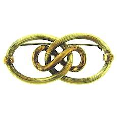 Vintage large lover's knot gold tone Brooch
