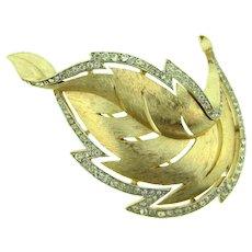 Signed Crown Trifari brushed gold tone leaf Brooch with crystal rhinestone edge