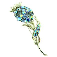 Vintage long stemmed flower Brooch with blue and blue AB rhinestones