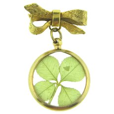 Vintage bow Scatter Pin with dangling 4 leaf clover large charm/pendant