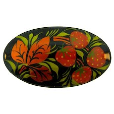 Vintage Russian black lacquer large oval Brooch with strawberries