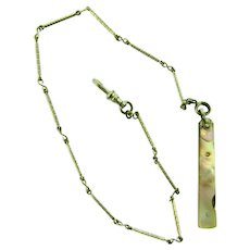 Vintage Watch Chain with abalone shell decorated nail file fob