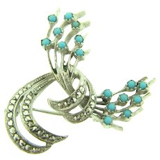 Marked Sterling Germany Brooch with turquoise glass beads and marcasites