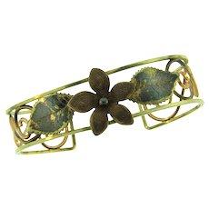 Vintage cuff Bracelet with floral design