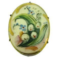 Antique hand painted porcelain Brooch with lilies of the valley