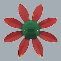 Vintage enamel on metal daisy flower Brooch
