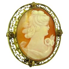Marked 1/20 12KT gold filled shell Cameo Pendant