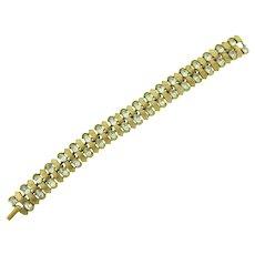 Signed Crown Trifari link Bracelet with crystal rhinestones