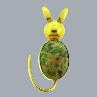 Signed CC 1/20 12 KT gold filled figural bunny Brooch with jasper scarab stone