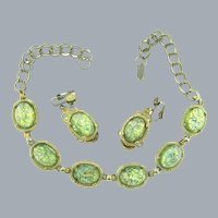 Vintage choker Necklace with faux dragon's breath green cabochons and matching clip-on Earrings