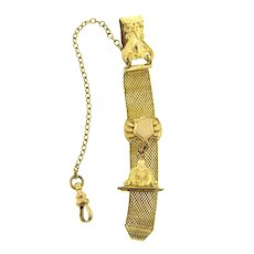 Signed Finberg Mfg. Co. gold filled mesh watch fob and chain