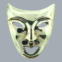 Marked 925 ND sterling silver large figural mask Brooch