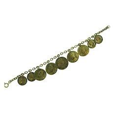 Vintage gold tone charm Bracelet of ancient coins