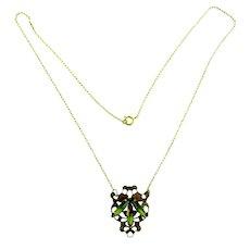 Vintage Pendant rhinestone Necklace with olivine stones