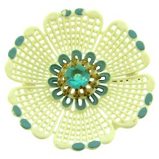 Vintage early plastic white flower Brooch with blue highlights and blue plastic center stone
