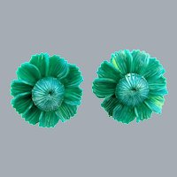 Vintage early plastic matching pair of teal moonglow flower Brooches