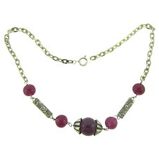 Vintage choker length purple glass beaded Necklace with repousse links
