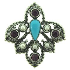 Signed Sarah Coventry large silver tone fleur de lis Brooch with rhinestones, imitation pearls and tear drop plastic cabochon