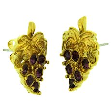 Vintage gold tone grape cluster with purple rhinestones Earrings for pierced ears