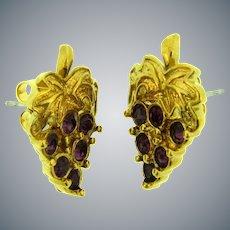 Vintage gold tone grape cluster with purple rhinestones Earrings for pierced ears