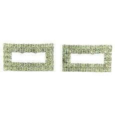 Vintage rectangular crystal rhinestone Shoe Clips