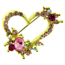 Vintage gold tone heart Brooch with pink and AB rhinestones