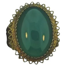 Marked 800 silver vermeil filigree Ring with Chrysoprase stone