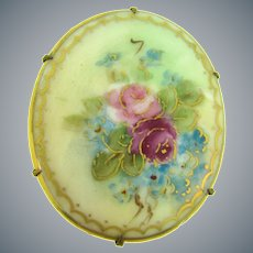Vintage large hand painted on porcelain floral Brooch