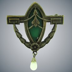 Vintage early silver tone Brooch with green glass stone and opaque white bead dangle