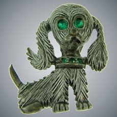 Signed Gerry's cute figural enamel cocker spaniel dog Brooch with green rhinestones