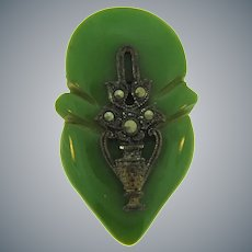 Small green Art Deco Bakelite Dress Clip with marcasites
