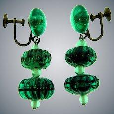 Marked Japan vintage green glass drop screw on Earrings