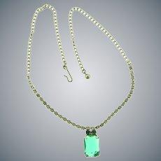 Vintage crystal rhinestone mid Century choker Necklace with center green rhinestones