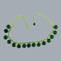 Vintage choker rhinestone Necklace with green rhinestones