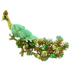 Vintage figural enamel and rhinestone peacock Brooch in shades of green, citrine and light topaz