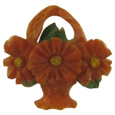 Vintage small flower basket early plastic Scatter Pin