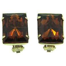 Vintage clip-on Earrings with dark topaz rhinestones